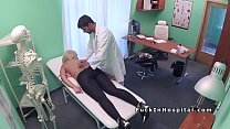 Blonde with big breasts wants sex in the doctor's office