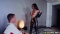 This brunette girl has round breasts and a very wet pussy