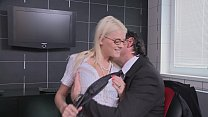 The blonde woman is having sex with her boss
